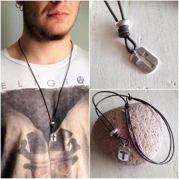 Leather cross pendant, mens silver perforated cross necklace, cross pendant, unisex cross necklace, silver leather cross pendant