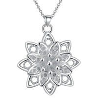 Large Sacred Lotus 3D Flower Silver Necklace Pendant For Woman