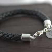 Personalized Mens Silver and Leather Bracelet, valentines day gift for him, Fathers Day Gift, custom initial bracelet