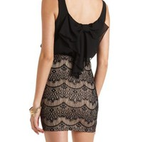 Lace & Chiffon Bodycon Dress by Charlotte Russe - Black Combo