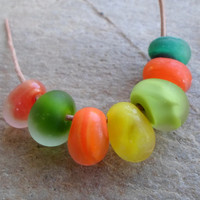 Lampwork Beads, Handmade Glass Beads, Etched Matte Finish Glass Beads, Handmade Jewelry Supplies for Unique handmade Jewelry
