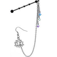 Lotus Industrial Barbell Chain Earring MADE WITH SWAROVSKI CRYSTALS | Body Candy Body Jewelry