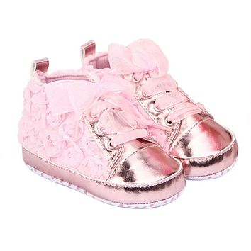 Baby Girl Shoes Toddler First walkers Shoes 3 Colors Sapato Infantil Kids Rose Flower Soft Sole Shoes 0-12 Months