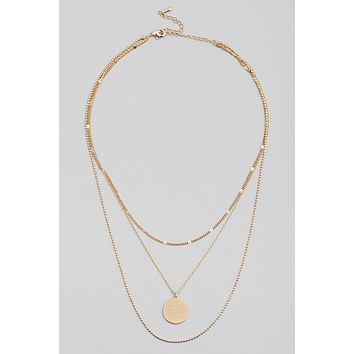 Dainty Layered Chain Coin Pendant Necklace (also in silver)