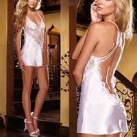 Sexy Satin Lingerie Nightwear Underwear Ladies Sleepwear Babydoll Lace Dress = 5618791361