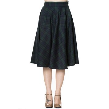 60's Dublin County Irish Green Dublin Tartan Midi skirt plus size