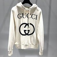 GUCCI double ring big logo letter print loose hooded sweatshirt