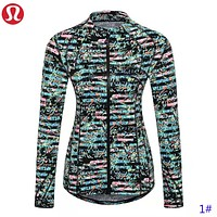 LuluLemon Fashion New Leaf  Print Women Yoga Long Sleeve Coat 1#