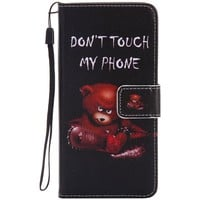 For LG G6 case Standing Wallet Flip cover fashion painting girl bear Mobile phone shell PU Leather with string card inside bag