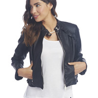 Ruffle Trim Faux Leather Jacket | Wet Seal