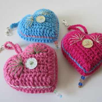 Valentine's Day Crochet Heart Decoration/Ornament or Handbag Charm by CROriginals