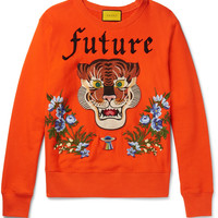 Gucci - Embroidered and Appliquéd Loopback Cotton-Jersey Sweatshirt