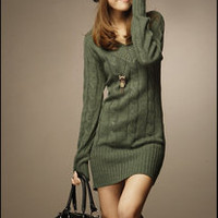 Casual Womens Sweater Jumper Long Top Mini Dress Pullover Fashion V Neck HOT