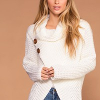 Candy Ivory Button Cowl Sweater