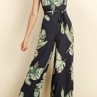 Monstera Leaf Jumpsuit, Navy