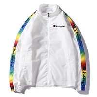 Champion Woman Men Fashion Multicolor Cardigan Jacket Coat Windbreaker
