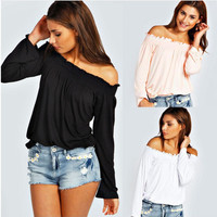 Off Shoulder Causal Shirt B0013985