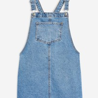 PETITE Raw Hem Denim Pinafore Dress | Topshop