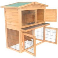 "Pawhut 40"" Wooden Rabbit Hutch Small Animal House Pet Cage"