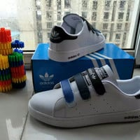 """""""Adidas STAN SMITH"""" Fashion Casual Unisex Plate Shoes Sneakers Couple Velcro Small White Shoes"""