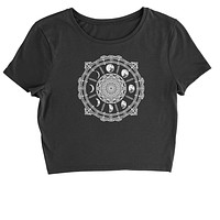 White Phases Of The Moon Compass Cropped T-Shirt