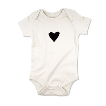 Black Heart Organic Baby Bodysuit
