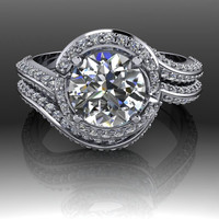 Forever Brilliant Moissanite and Diamond Engagement Ring and Band 1.57 CTW