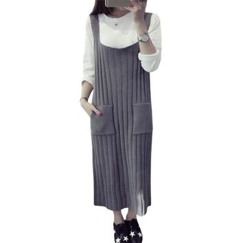 2019 fall winter sweater women vest dress long sleeveless new knit sweaters package hip skirt pullover clothing vestidos MMY181