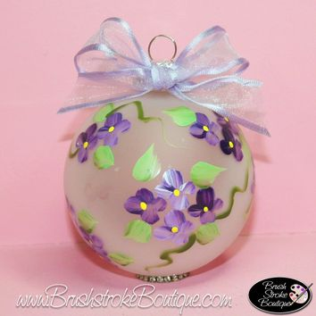 Hand Painted Ornament - Glass Ball Ornament - Forget-Me-Nots - Original Designs by Cathy Kraemer