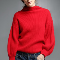 Red Oversized Mink Cashmere Sweater