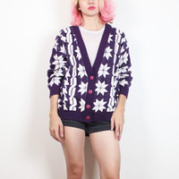 Vintage 1980s Sweater Purple White Snowflake Houndstooth Nordic Cable Knit Print Slouchy V Neck Cardigan 80s New Wave Jumper M L Large XL
