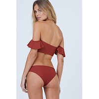 Wildflower Moderate Bikini Bottom - Canyon Red