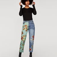 EMBROIDERED HIGH WAIST JEANS DETAILS