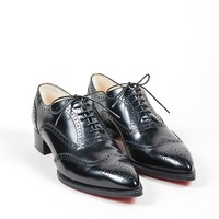 KUYOU Black Christian Louboutin Leather Heeled Zazou Fiori Apollo Brogues
