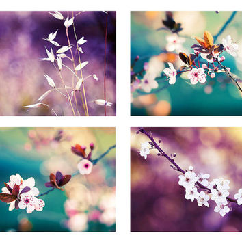 nature photography flowers spring photography blossom set of 4 5x7 8x10 fine art photography floral plum photography teal floral purple art