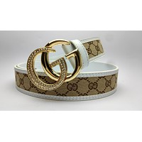Inseva White GUCCI new diamond G buckle simple wild smooth buckle belt Gold Buckle