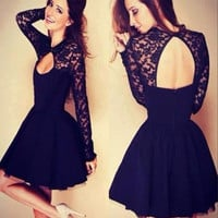 Black Long Sleeve Short Cocktail Dresses Appliques Lace Backless Above Knee Mini Chiffon Prom Coctail Dress For Party Jurk
