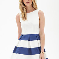 FOREVER 21 Pleated Stripe Dress White/Navy