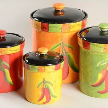 Canister Set Chili Pepper Orange Green Red Yellow Ceramic