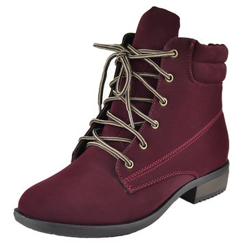 Womens Ankle Boots Lace Up Ankle Padded Hiking Casual Comfort Shoes Red SZ 9