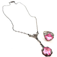 Vintage LAVALIER Necklace Pink Sterling Silver Necklace & Ring Faux Pink Sapphire Filigree Authentic ART DECO Rhinestone Signed Gorgeous