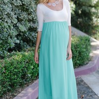 Green Chiffon Colorblock Maternity Maxi Dress
