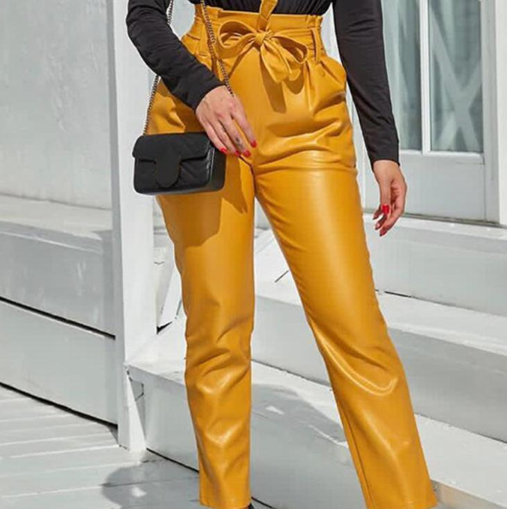 Image of Hot style sells slim, high-waisted and bright leather trousers for women