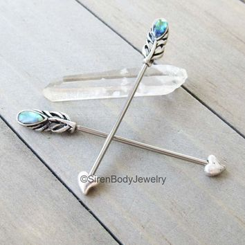 Feather industrial piercing barbell 14g abalone shell inlay heart arrow tip silver ear piercing bar