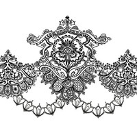"""Vintage Black Lace Temporary Tattoo - """"A Lace In My Heart"""""""