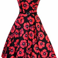 Red Poppy on Black Hepburn Dress