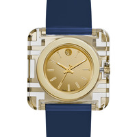 Izzie Leather-Strap Golden Watch, Navy - Tory Burch Watches