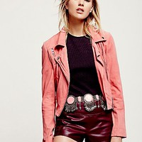 Muubaa Womens Right Tune Belted Motorcycle Jacket