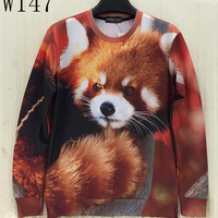 [Sunny] Men/women 3d sweatshirts printed Funny  animals red panda casual hoodies Casual tops Fashion W147