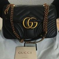 Gucci Handbag Marmont Matelasse Women Quilted Leather Crossbody Bag